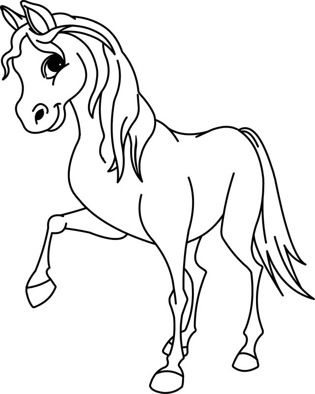 Coloriage à imprimer : un cheval, dessin 10