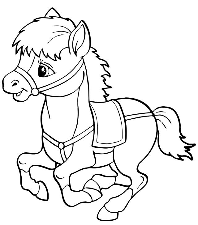 Coloriage à imprimer : un cheval, dessin 9