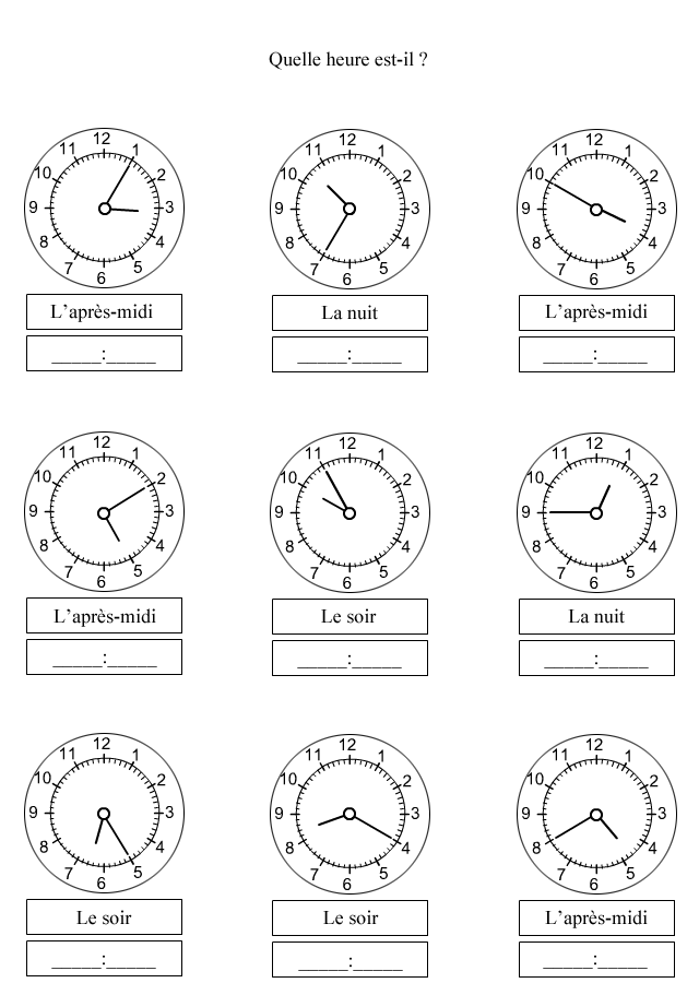 Exercices à imprimer pour apprendre à lire les minutes - Turbulus, jeux pour enfants