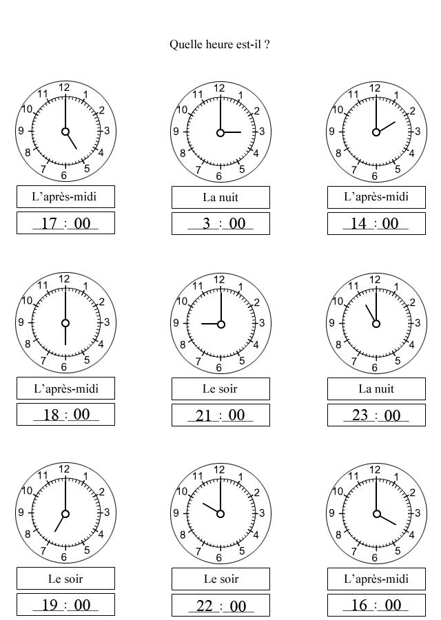 Sehr exercices en ligne sur l heure - heurealgerie.com DE49
