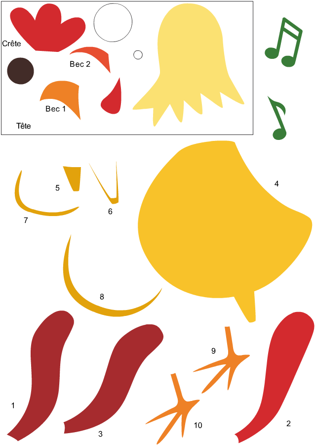 D coupage et collage d 39 un coq turbulus jeux pour enfants - Decoupage collage a imprimer ...