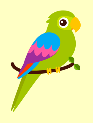 D coupage collage d 39 un perroquet turbulus jeux pour enfants - Modele d oiseaux a dessiner ...