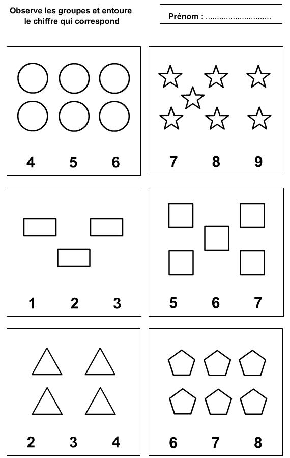 Berühmt Fiche d'exercices à imprimer pour apprendre à compter à 1 à 9  RN66