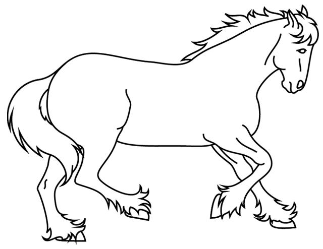 Coloriage imprimer un cheval qui galope turbulus jeux pour enfants - Dessins de chevaux facile ...