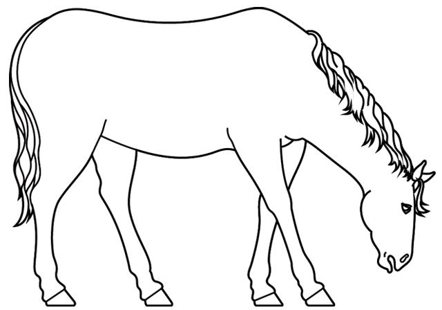 Coloriage imprimer un cheval dessin 4 - Dessins de chevaux facile ...
