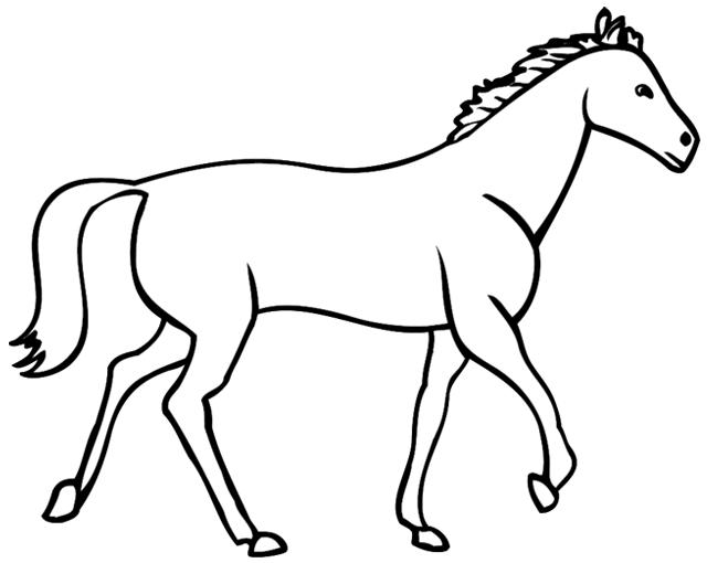 Coloriage imprimer un cheval dessin 6 - Cheval a dessiner facile ...