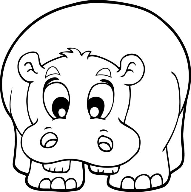 Coloriage un hippopotame turbulus jeux pour enfants - Animaux d afrique coloriage ...