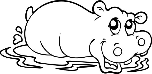 Coloriage un hippopotame dans l 39 eau turbulus jeux - Dessin d hippopotame ...
