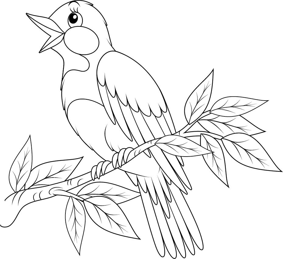 Dessin colorier un rossignol turbulus jeux pour enfants - Des images a colorier et a imprimer ...