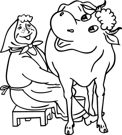 Coloriage imprimer la vache et la fermi re turbulus jeux pour enfants - Vache a imprimer ...