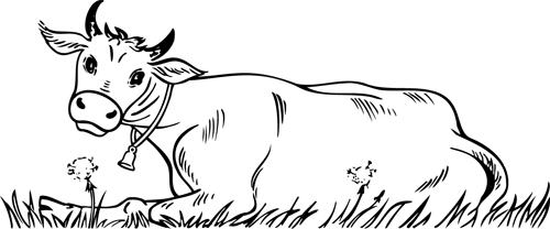 Coloriage imprimer une vache allong e turbulus jeux pour enfants - Dessin d une vache ...