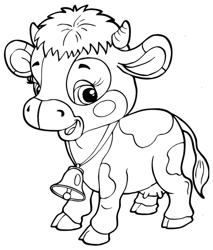 Coloriage d 39 une vache avec clochette turbulus jeux pour enfants - Dessin vache facile ...