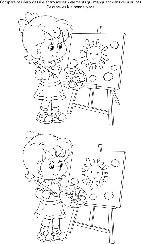 Jeu des 7 erreurs imprimer une fille qui peint - Jeux gratuit fille 7 ans ...