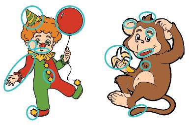 Jeux des diff rences le clown et le singe turbulus - Jeux de clown tueur gratuit ...