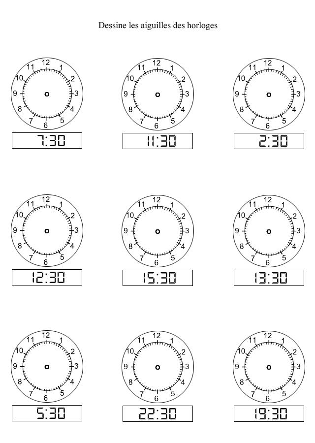 apprendre lire l 39 heure dessiner les aiguilles sur les horloges les demi heures turbulus. Black Bedroom Furniture Sets. Home Design Ideas