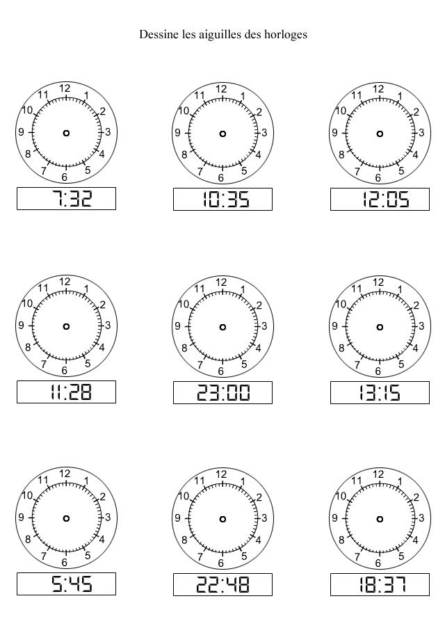 apprendre lire l 39 heure dessiner les aiguilles sur les. Black Bedroom Furniture Sets. Home Design Ideas