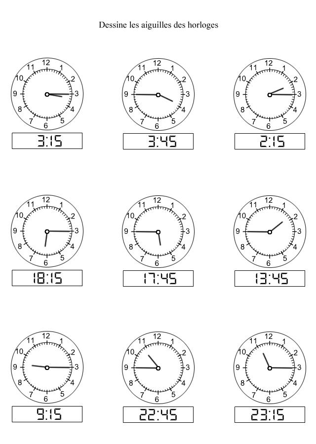 apprendre lire l 39 heure dessiner les aiguilles sur les horloges les quarts d 39 heure. Black Bedroom Furniture Sets. Home Design Ideas