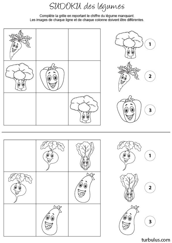 sudoku imprimer les l gumes turbulus jeux pour enfants. Black Bedroom Furniture Sets. Home Design Ideas