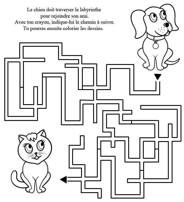 Labyrinthe imprimer le chat et le chien turbulus jeux pour enfants - Jeu labyrinthe a imprimer ...