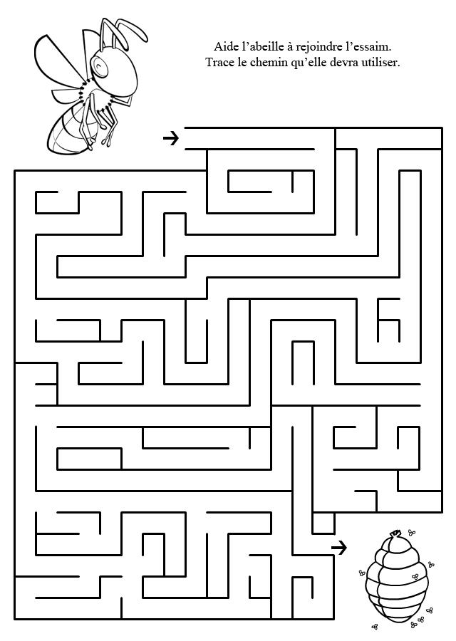 Labyrinthe imprimer l 39 abeille et l 39 essaim turbulus - Labyrinthe dessin ...