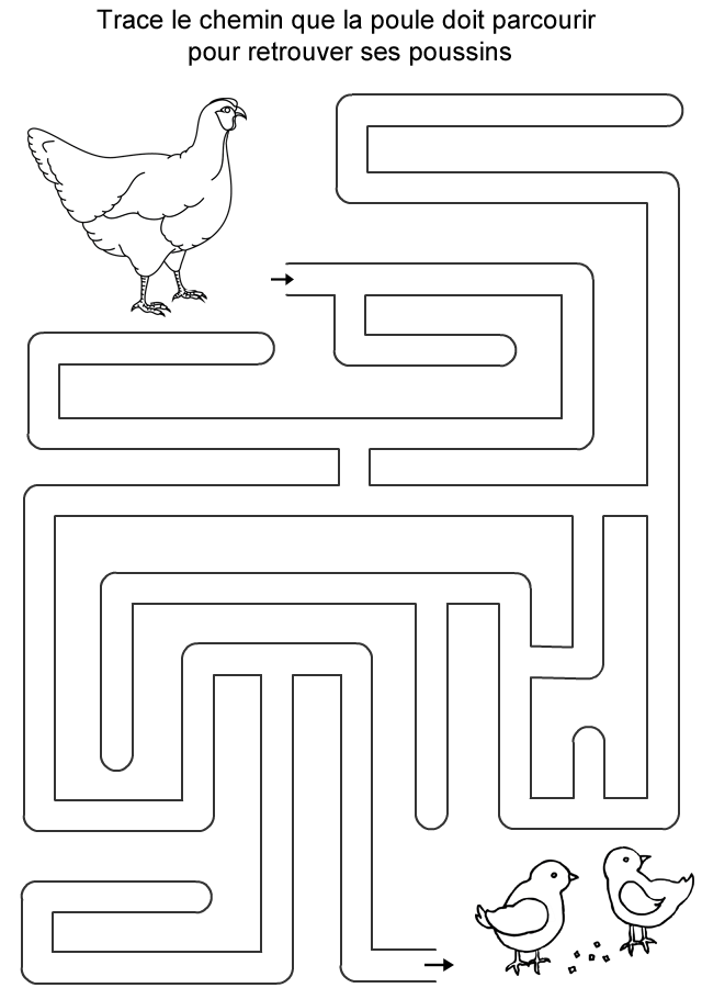 Labyrinthe à Imprimer La Poule Et Les Poussins Turbulus