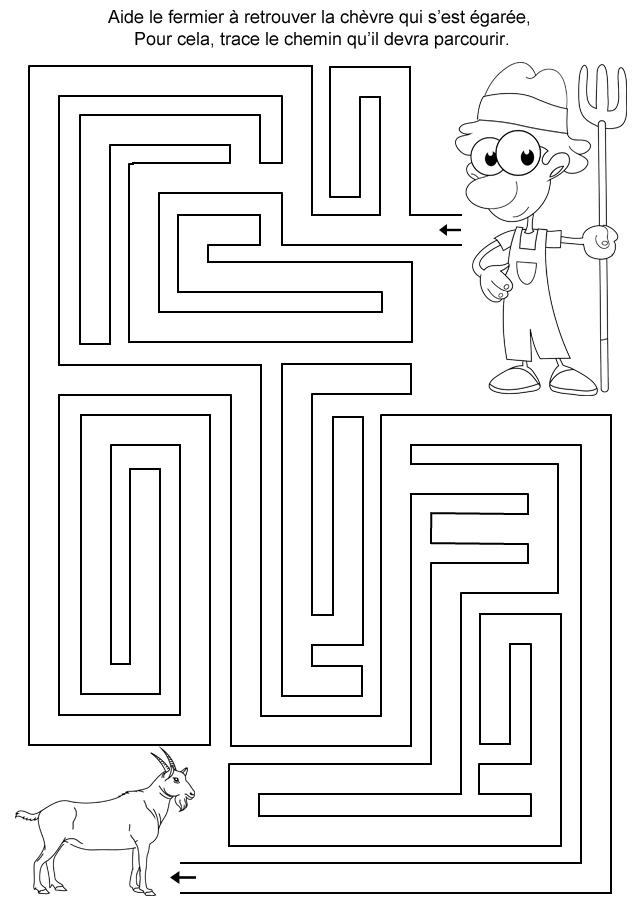 Labyrinthe imprimer le fermier et la ch vre turbulus - Jeux labyrinthe a imprimer ...