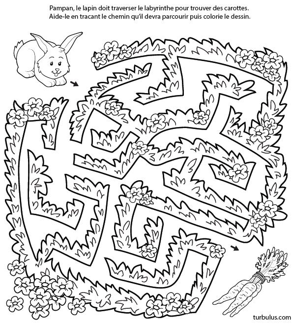 Labyrinthe gratuit le lapin et les carottes turbulus - Carotte coloriage ...